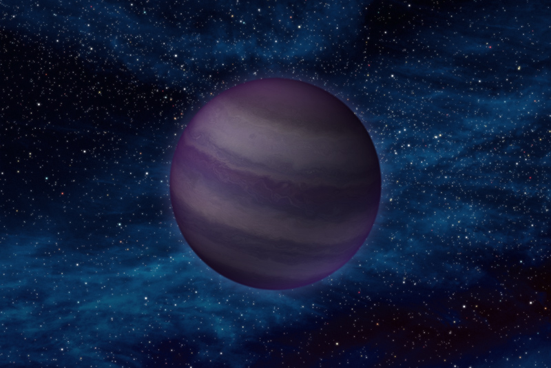 A striped sphere floating in a star field