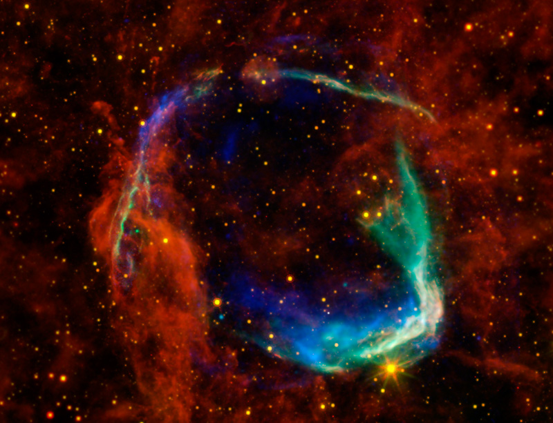 This composite image of supernova remnant RCW 86 combines data from four different space telescopes to create a multi-wavelength view of all that remains of the oldest documented example of a supernova.