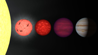 Pictorial of stars, dwarfs and planets.