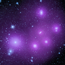 A star field with several purple glowing clumps.