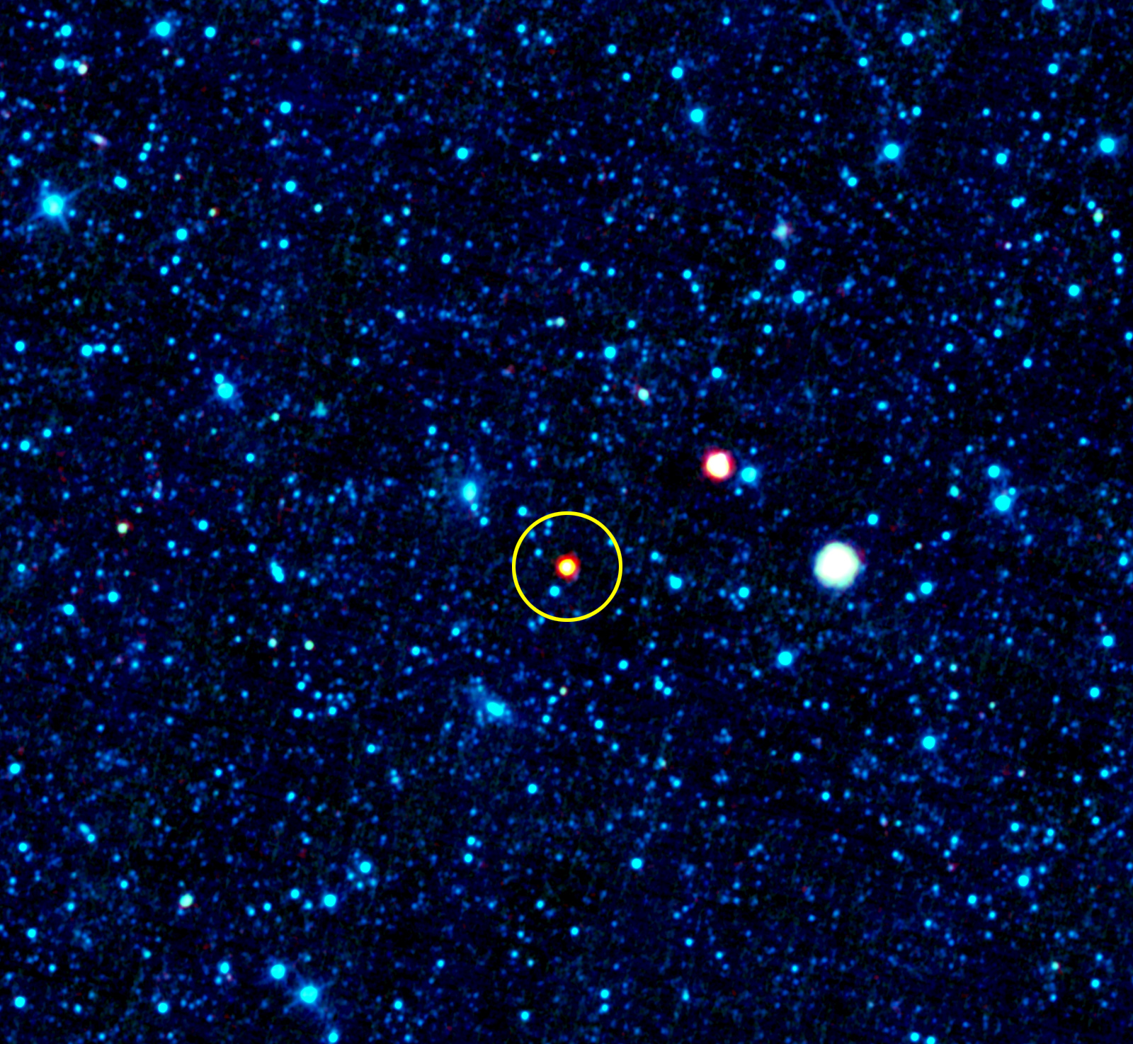 This image shows the galaxy named SBS 0335-052, which is in a class of galaxies called blue compact dwarfs