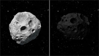 Image shows two asteroids in visable light.