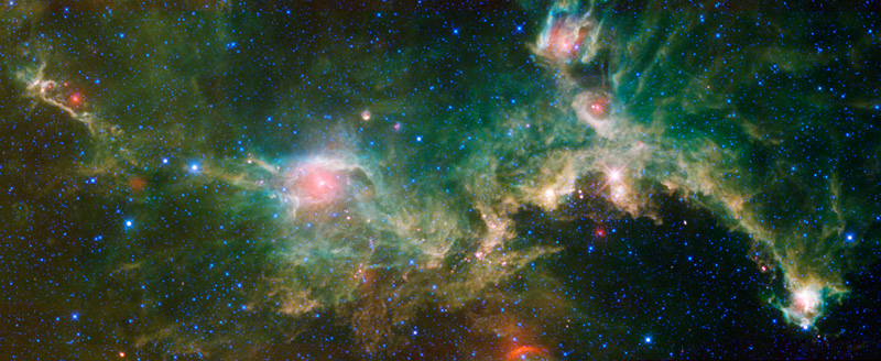 This multicolored cloud of gas and dust is commonly known as the Seagull Nebula because of its seagull like appearance.