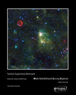 "The red circle visible in the upper left part of the image is SN 1572, often called ""Tycho's Supernova""."