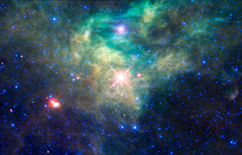The newborn star cluster AFGL 490 is hidden behind a multicolored cloud, but WISE's infrared vision peers through and reveals them.