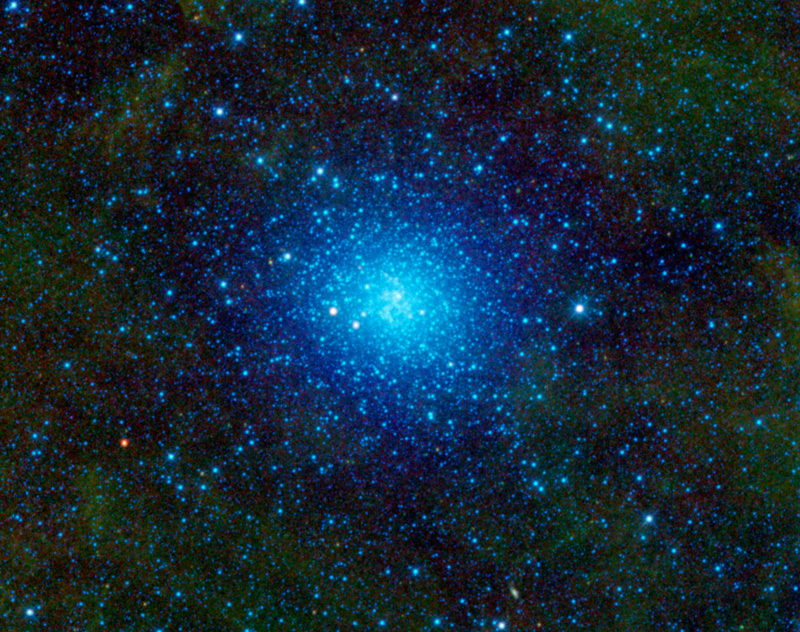 The blue cluster of stars is known as Omega Centauri, a globular cluster which is bound together by gravity.
