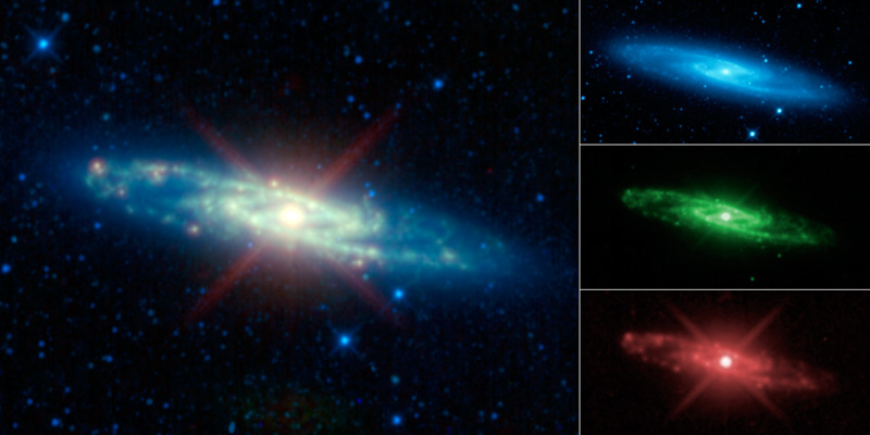 The different colored sprirals are all of the Sculptor Galaxy shown in different hues.