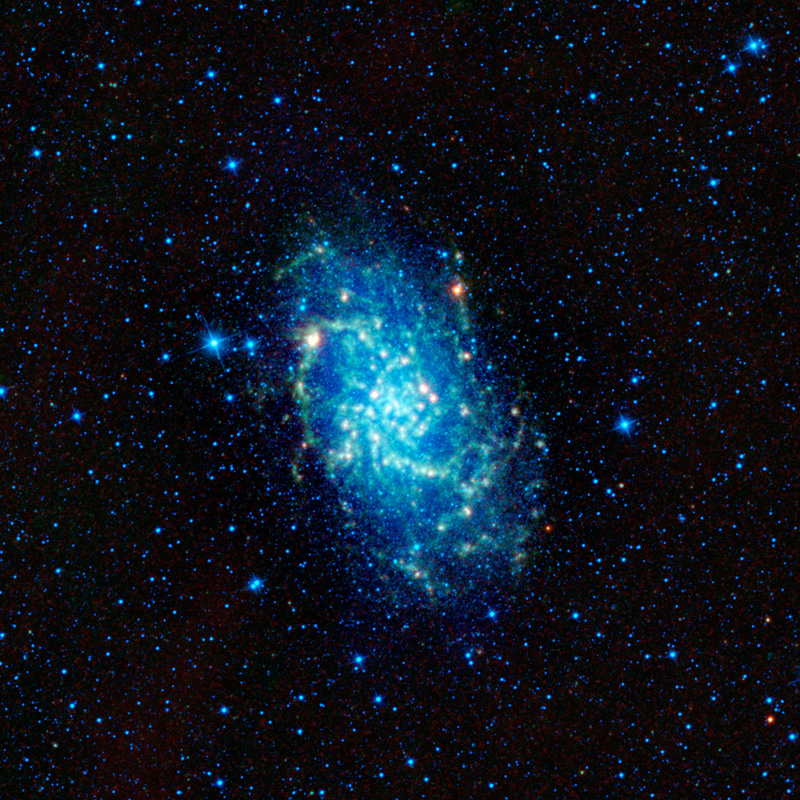 The concentrated cluster of stars and dust located in the center of the image makes up the Triangulum Galaxy.