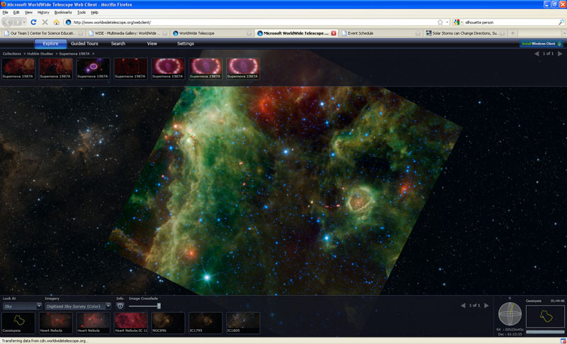 A screen shot of the WWT web client using a WISE-captured image superimposed onto the correct part of the sky. It shows an internet browser window with a starry sky in the middle of the image.