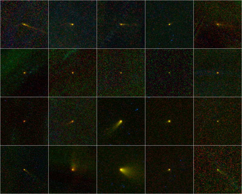 This collage shows those 20 new comets all together in a kind of family portrait.