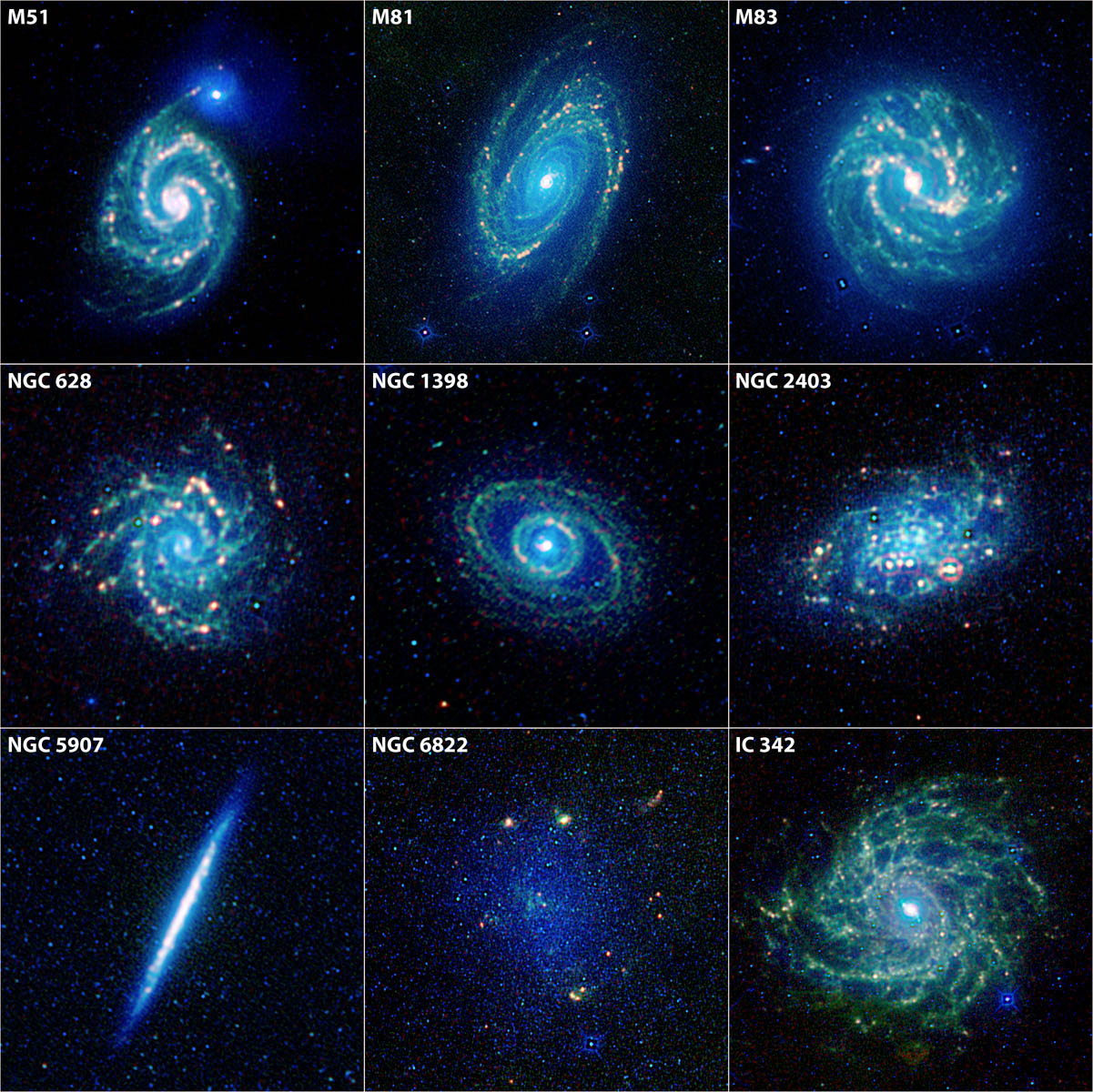 This image showcases galaxies of several types, from elegant grand design spirals to more patchy flocculent spirals. Some of the galaxies have roundish centers, while others have elongated central bars.