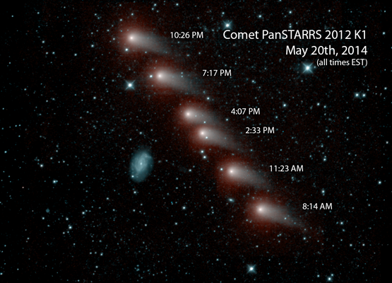 ith a diagonal line of glowing comets.