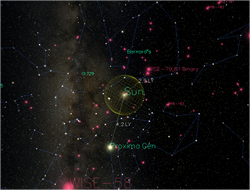 The galaxy is shown with stars and portayed constellations.