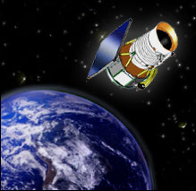 An artist's conception of the WISE satellite in orbit around Earth.