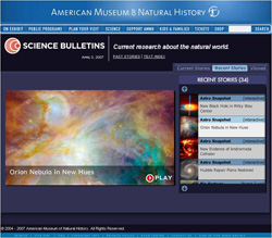 AMNH site showing an AstroBulletin on the Orion Nebula.